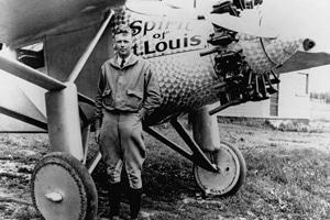 Charles Lindbergh pilots the Spirit of St. Louis