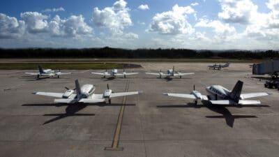 light aircraft at airfield